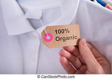 femme, organique, projection, cent, étiquette, tenue, 100, coton