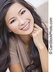 femme, oriental, sourire, chinois, asiatique, beau