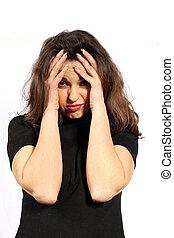 femme, ou, dépression, maux tête