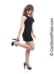 femme, ou, noir, porter, fermé, mettre, prendre, talons, robe, beau