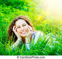 femme, outdoors., jouir de, jeune, nature