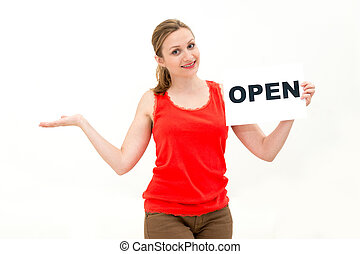 femme, ouvert, jeune, planche
