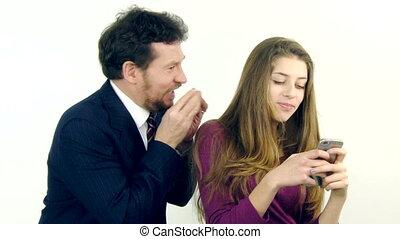 femme, père, adolescent, craz, conduite