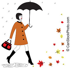 femme, parapluie