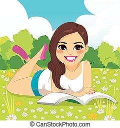 femme, parc, lecture