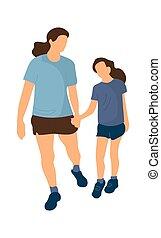 femme, park., aller, hands., activité loisir, extérieur, famille, sportswear., séance entraînement, vecteur, ou, gens, girl, illustration, récréation, isolé, tenue, fille, mère, marche., été