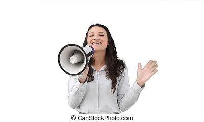 femme parler, business, porte voix