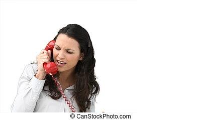 femme parler, téléphone, colère