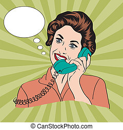 femme parler, téléphone, popart, retro, comique