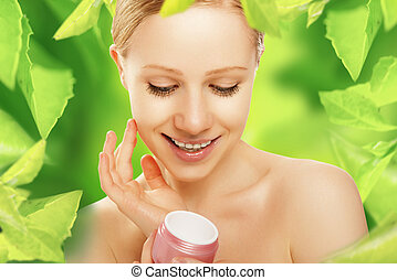femme, peau, beauté naturelle, crème, soin, vert
