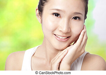 femme, peau, jeune, soin, asiatique, beau