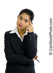 femme pensée, business