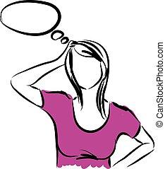 femme pensée, illustration