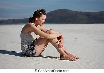 femme pensée, plage, séance