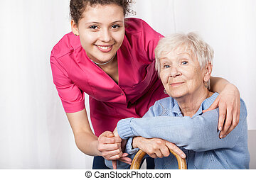 femme, personnes agées, séance, infirmière