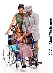 femme, petite-fille, handicapé, africaine, personne agee, mari