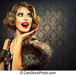 femme, photo, appelé, lady., portrait., retro, vendange, surpris