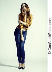 femme, photo, jean, jeune, mode, sensuelles