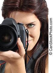 femme, photographe, haut, appareil-photo slr, tenue, numérique, fin