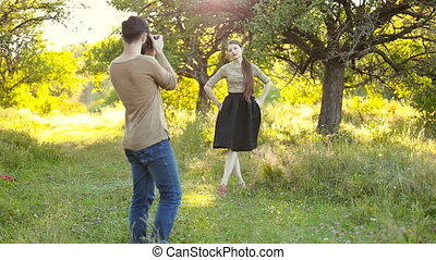 femme, photographier, homme