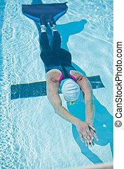 femme, piscine, freediver