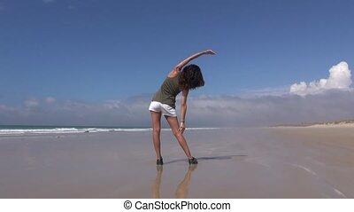 femme, plage, 30, dos, exercisme