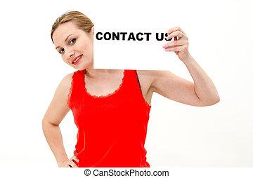 femme, planche, nous, contact