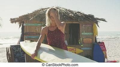 femme, planche surf, caucasien, tenue, elle