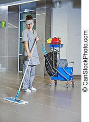 femme, plancher, lavette, nettoyage, propre, services.