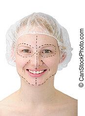 femme, plastique, surgery/, ascenseur, avant, figure, heureux