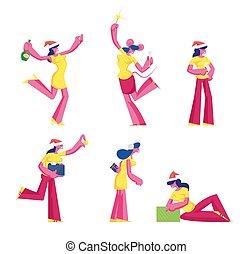 femme, plat, noël., donner, vecteur, chapeau, danse, rigolote, fond, blanc, porter, souris, déguisement, illustration, santa, dessin animé, célébrer, isolé, année, claus, nouveau, ensemble, filles, dons, caractères