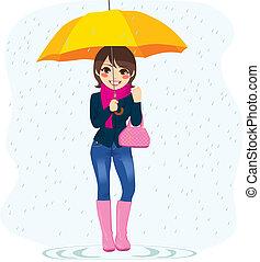 femme, pluie