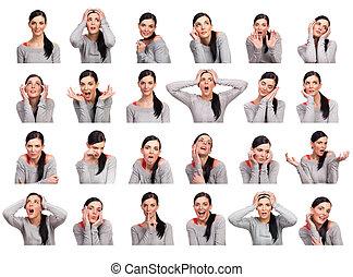 femme, plusieurs, jeune, isolé, projection, expressions