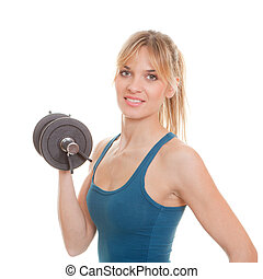 femme, poids, exersice