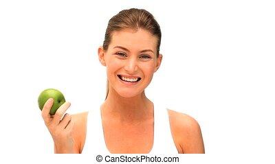 femme, pomme, manger
