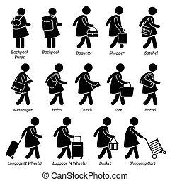 femme, portefeuille, sacs, femme, bourse