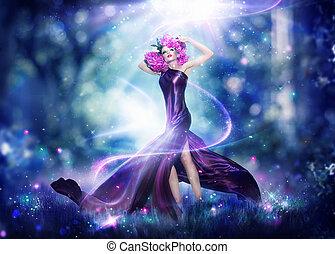 femme, portrait, fantasme, fée, beau, art, mode