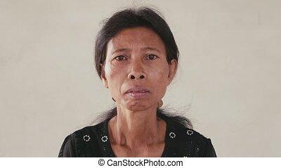 femme, portrait, inquiétude, triste