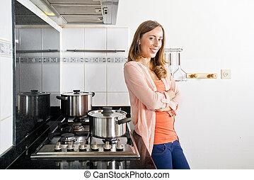 femme, poser, cuisine