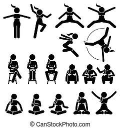 femme, positions., asseoir, actions, saut, fondamental