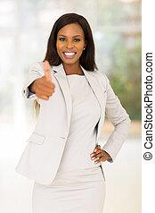 femme, pouce, business, abandon, africaine