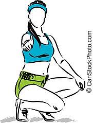 femme, pouce haut, illustration, vecteur, fitness