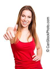 femme, pouces haut, séduisant, signe