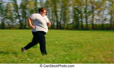 femme, pré, -, excès poids, courant, vert, sport