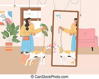 femme, préparer, promenade chien
