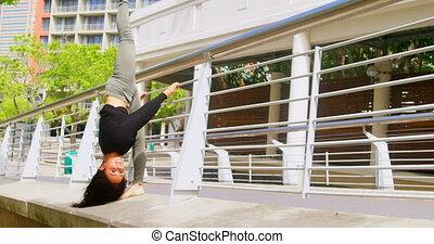 femme, pratiquer, danseur, 4k, danse, pont, jeune