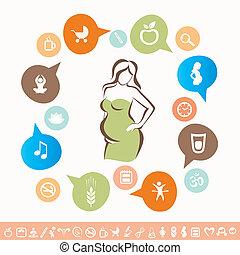 femme, pregnant, ensemble, icônes, sain, lyfestyle, infographics