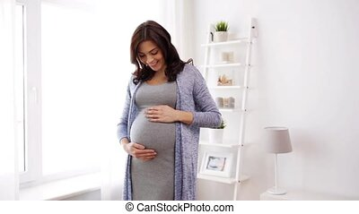 femme, pregnant, grand, ventre, maison, heureux
