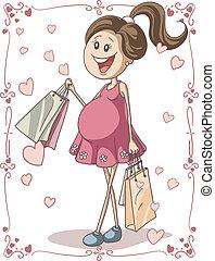 femme, pregnant, sacs, achats