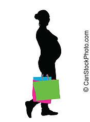 femme, pregnant, vecteur